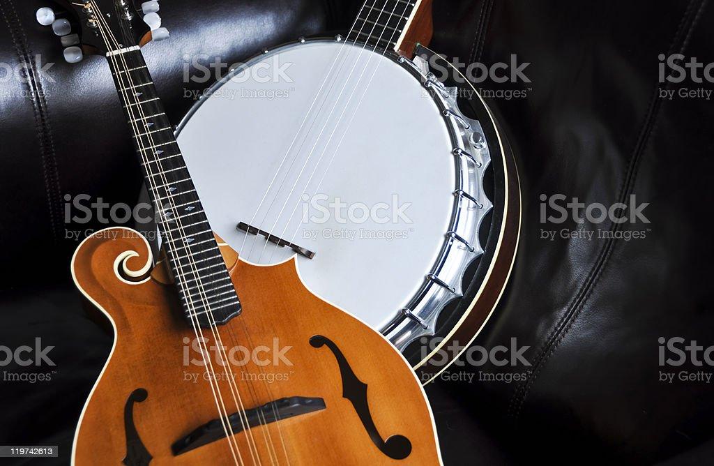 Bluegrass Mandolin and Banjo stock photo