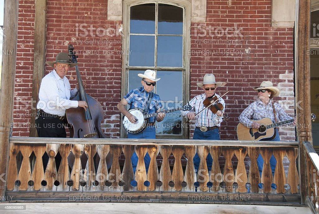 Bluegrass musicians in the ghost town of Bannack Montana stock photo