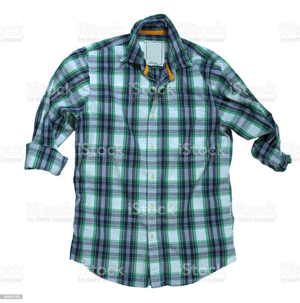 Blue/Green Checkered Button-Down Shirt - White Background royalty-free stock photo