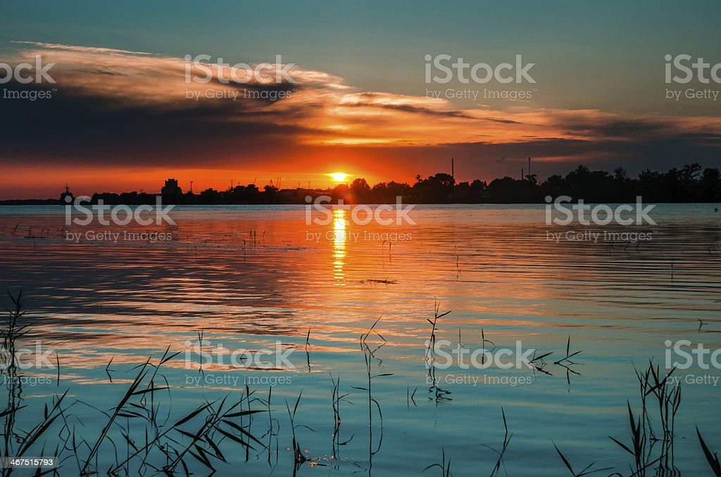 Blueish lights in Danube at sunset stock photo