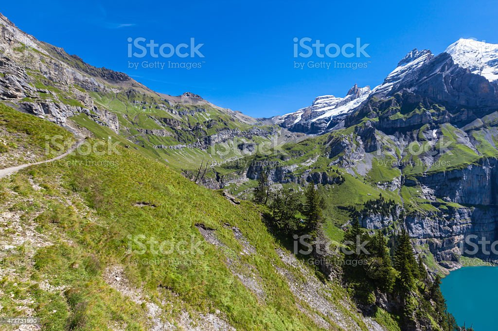 Bluemlisalphorn near Oeschinen lake in Kandersteg stock photo