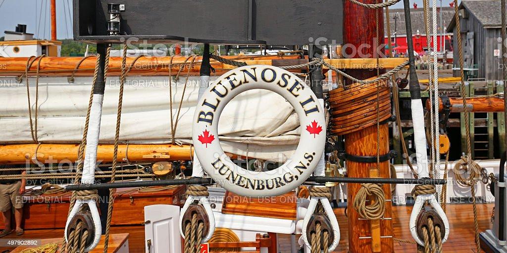 Bluenose II, Life Ring.  Lunenburg, Nova Scotia, Canada stock photo