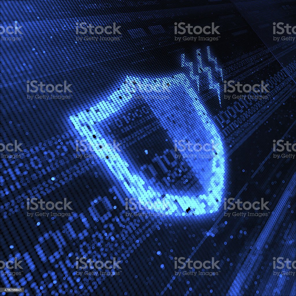 Blue-on-blue digital shield background stock photo