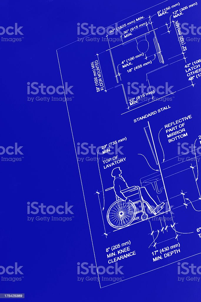 Blueprint 6 - Handicapped Restroom Design royalty-free stock photo
