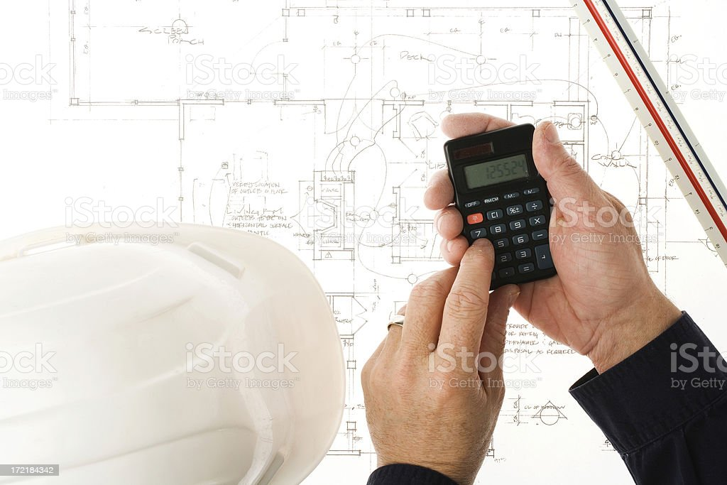 Blueprint and budgeting royalty-free stock photo
