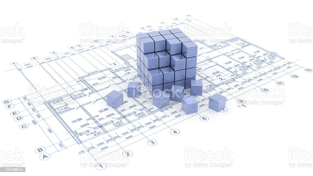 blueprint and cubes stock photo