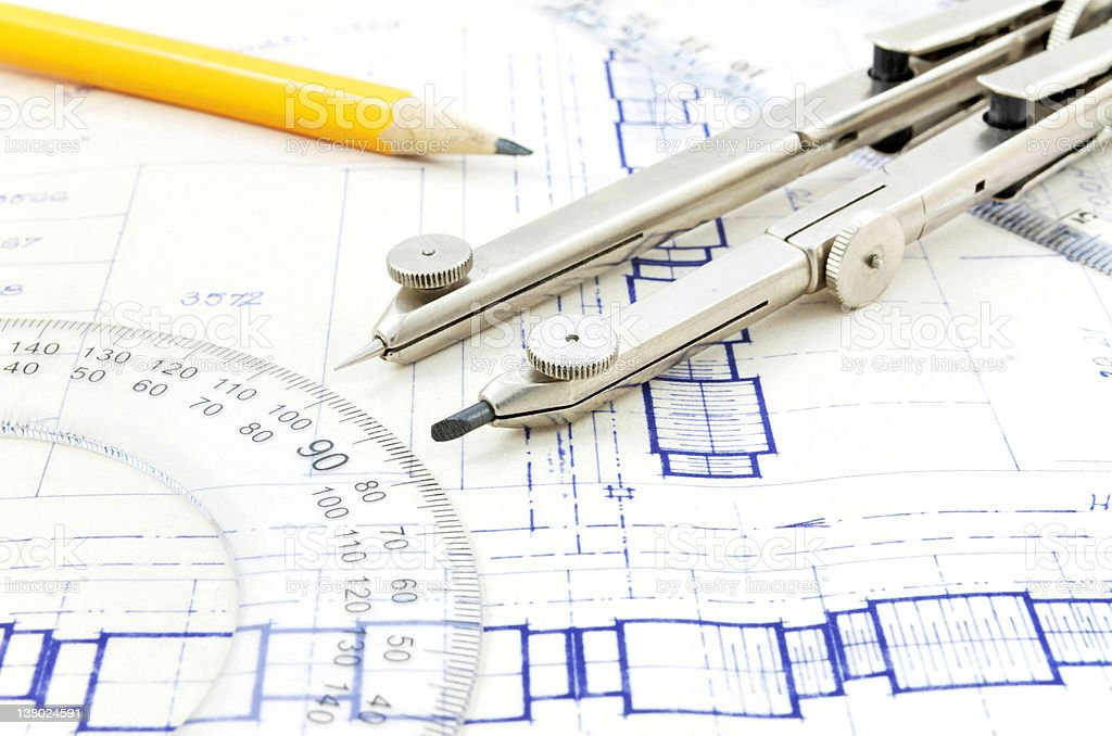 Blueprint and geometry equipment royalty-free stock photo
