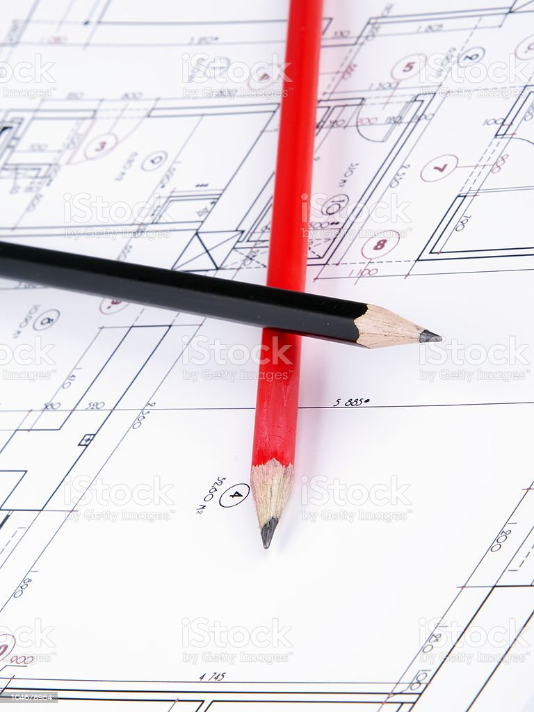 Blueprint and two pencils royalty-free stock photo