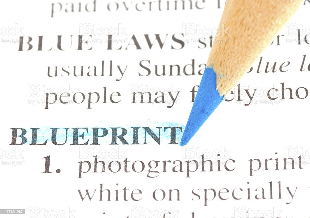 blueprint definition highligted in dictionary royalty-free stock photo