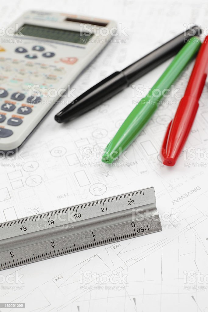 blueprint design and tools royalty-free stock photo