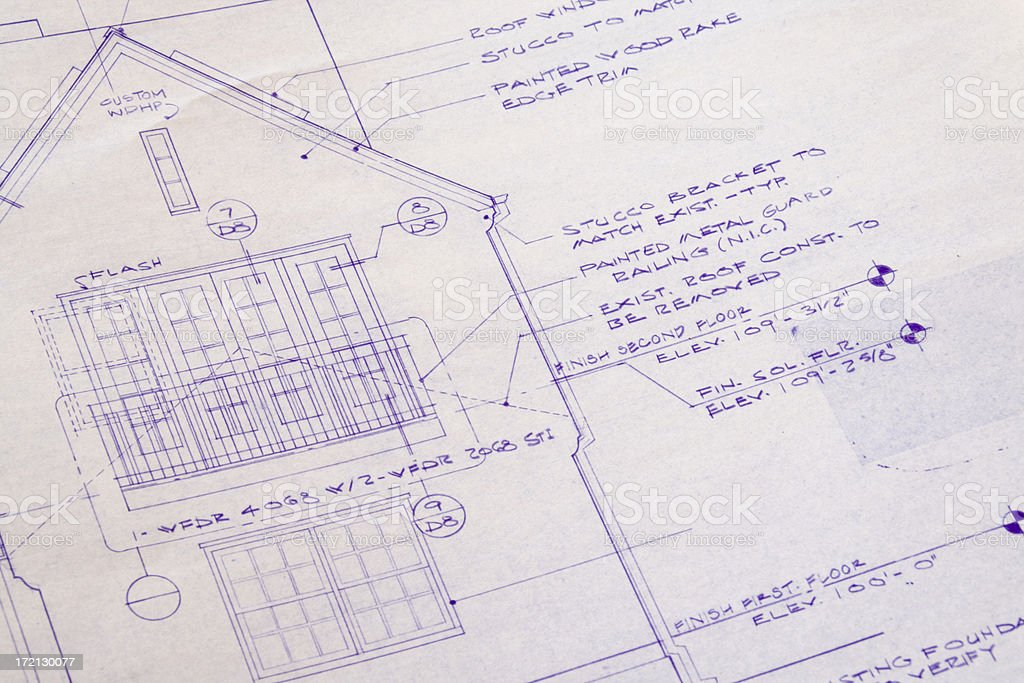 Blueprint for Home Addition, Remodeling Improvement of Residential House royalty-free stock photo