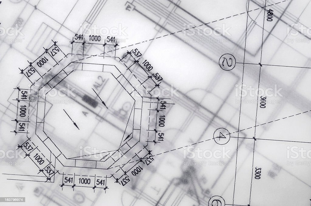 Blueprint For Industry- Real Estate Construction Printout royalty-free stock photo