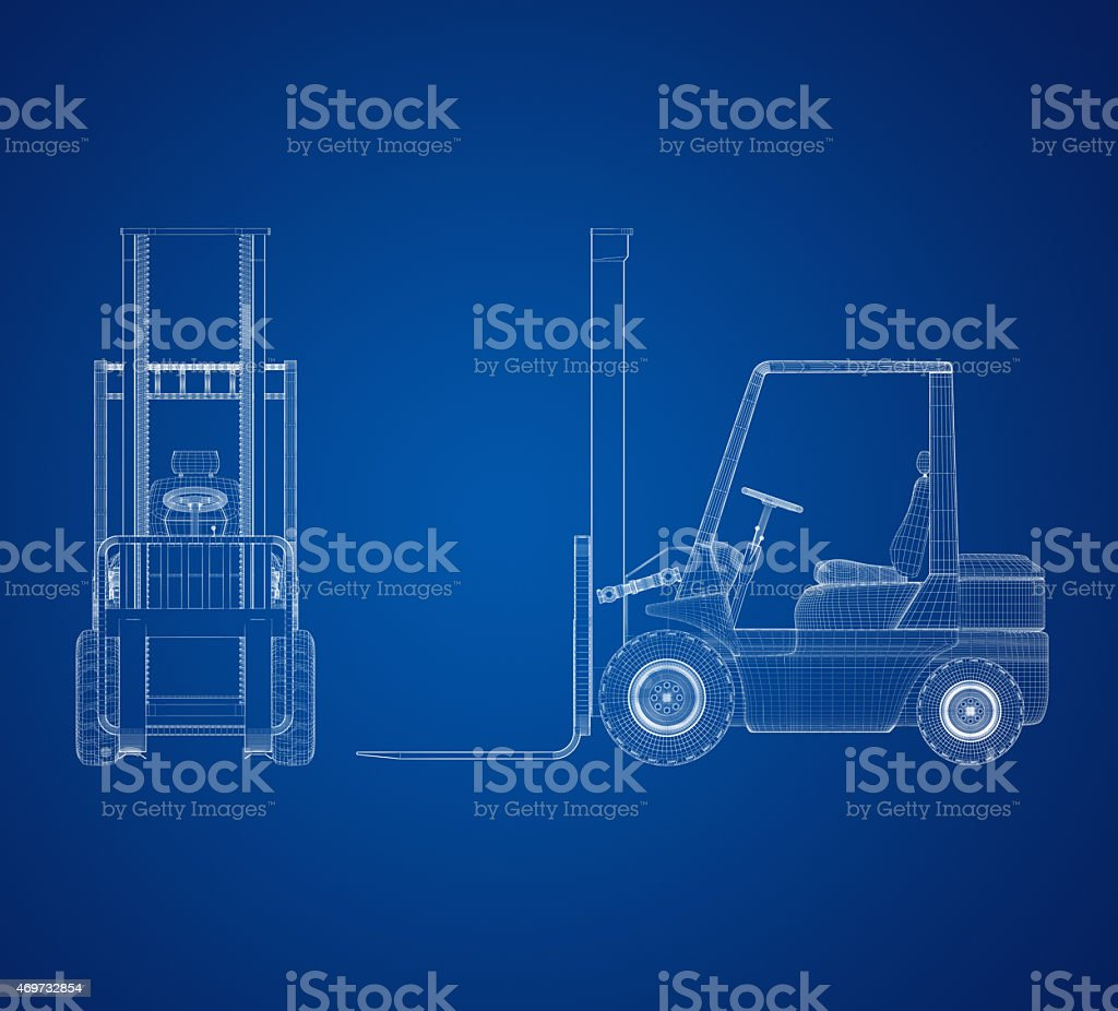 Blueprint Forklift stock photo