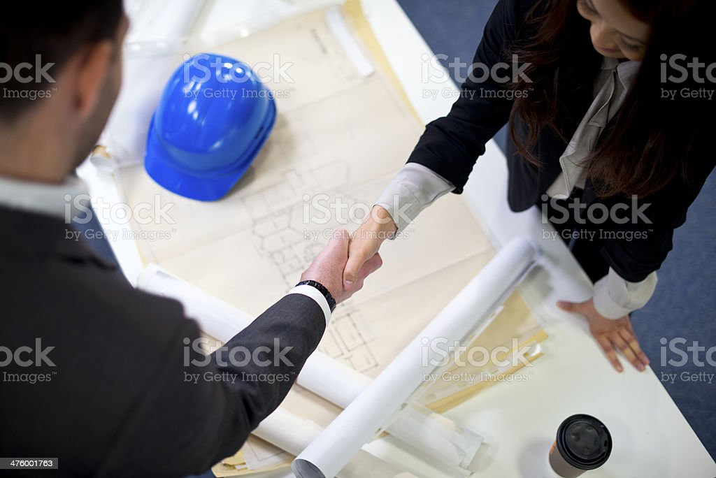 blueprint handshake royalty-free stock photo