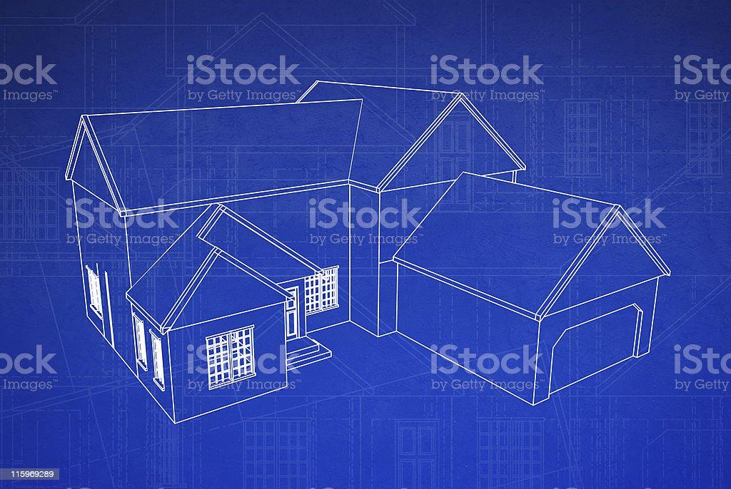 3D Blueprint House stock photo
