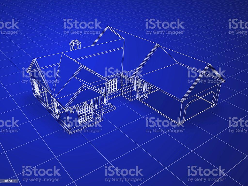 Blueprint House royalty-free stock photo