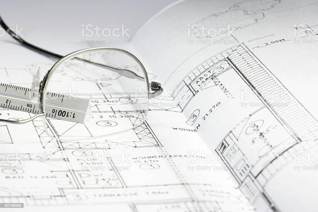 blueprint of a building royalty-free stock photo