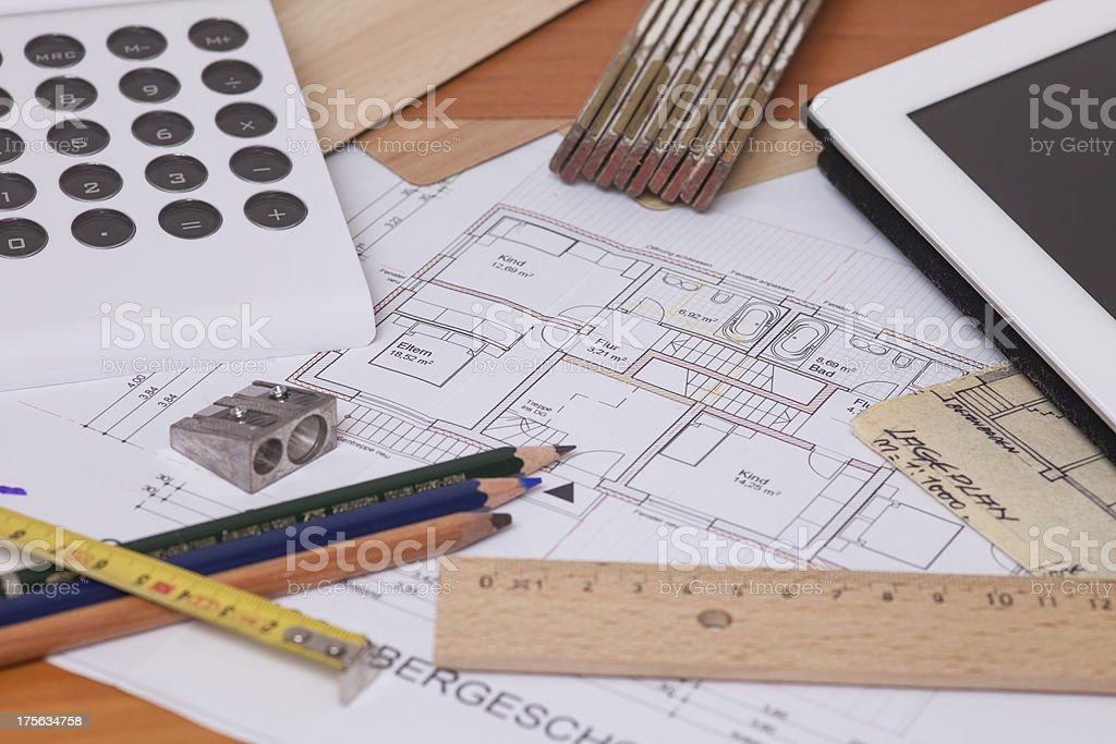 Blueprint of a house royalty-free stock photo