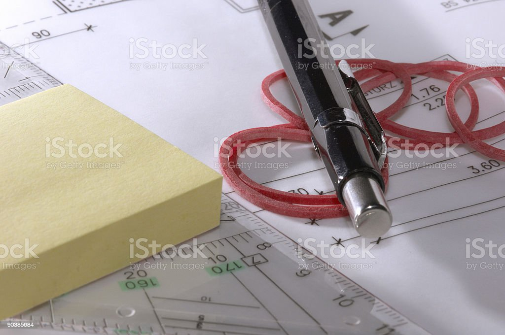 blueprint, pen and ... royalty-free stock photo