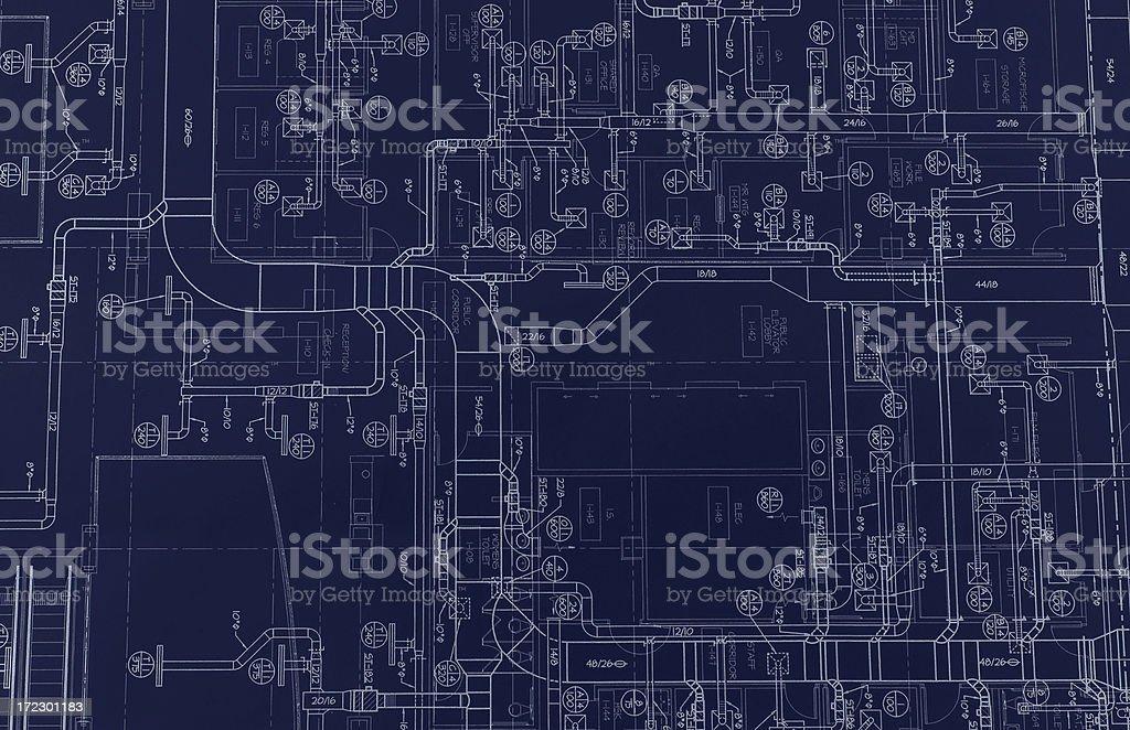 HVAC Blueprint royalty-free stock photo