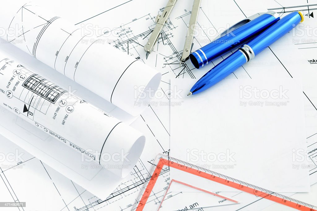 blueprint plan of house building with copy space stock photo