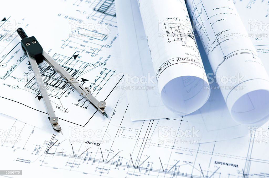blueprint plan of house building with drawing compass stock photo