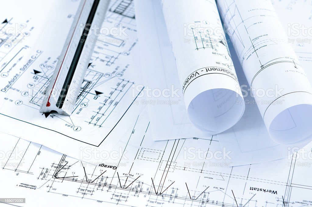 blueprint plan of house building with Engineer's scale stock photo