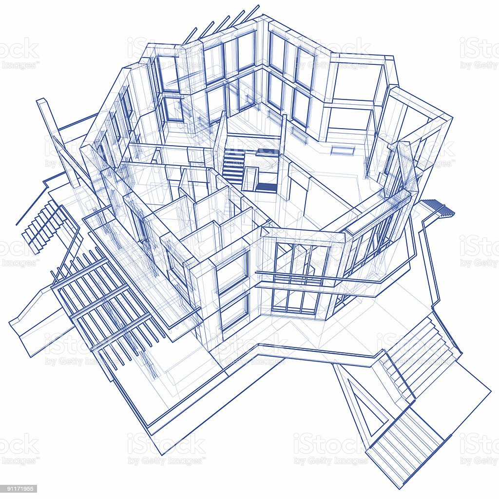 3D blueprint rendering of a modern two story house royalty-free stock photo