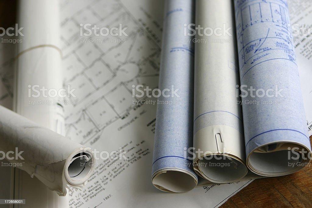 Blueprint Rolls royalty-free stock photo