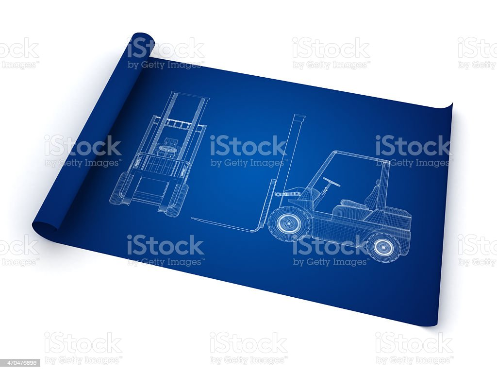 Blueprint showing side and front view of a forklift stock photo