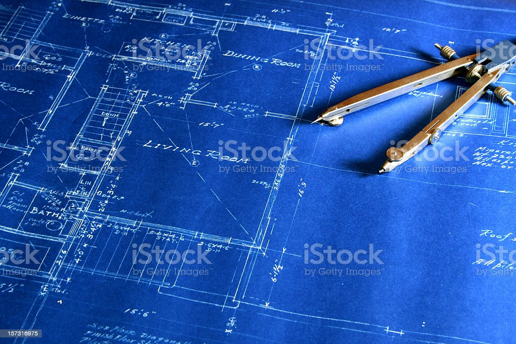 Blueprint With a Drafting Compass stock photo