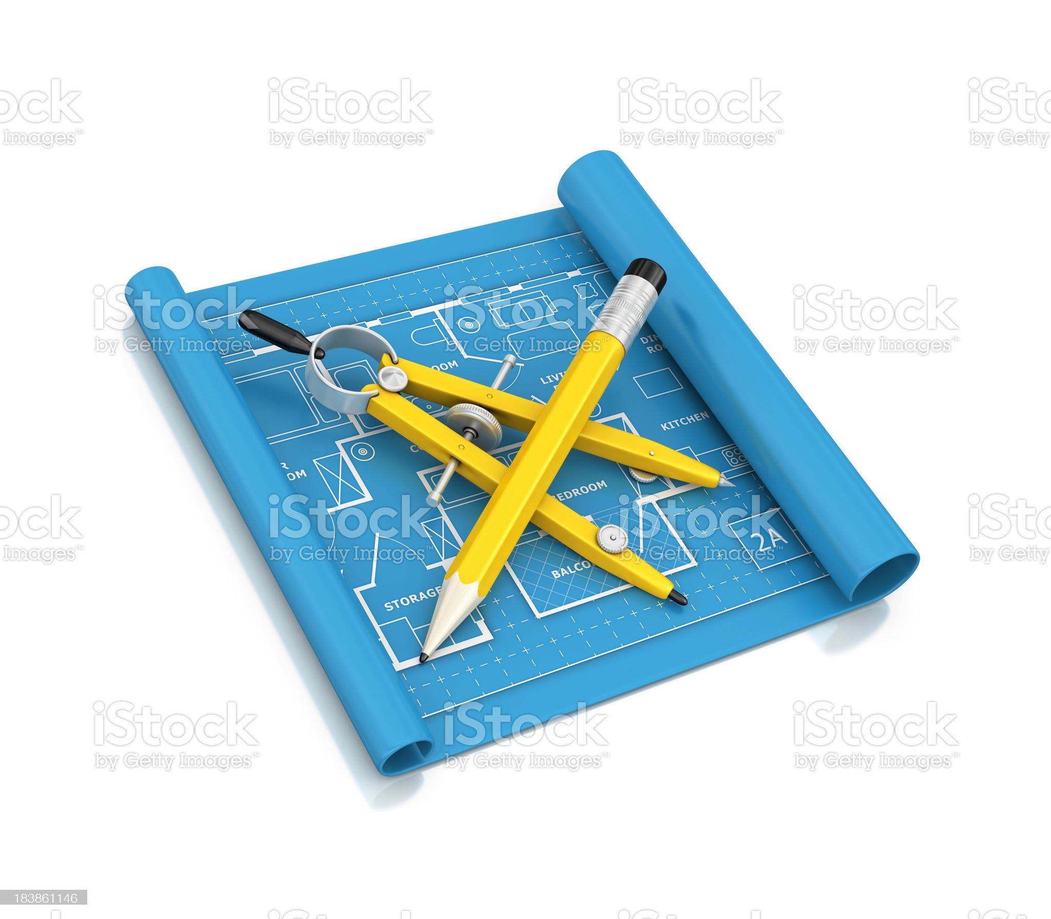 blueprint with pencil and drawing compass royalty-free stock photo
