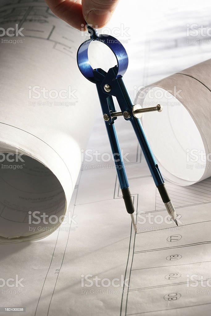 blueprints and compass royalty-free stock photo
