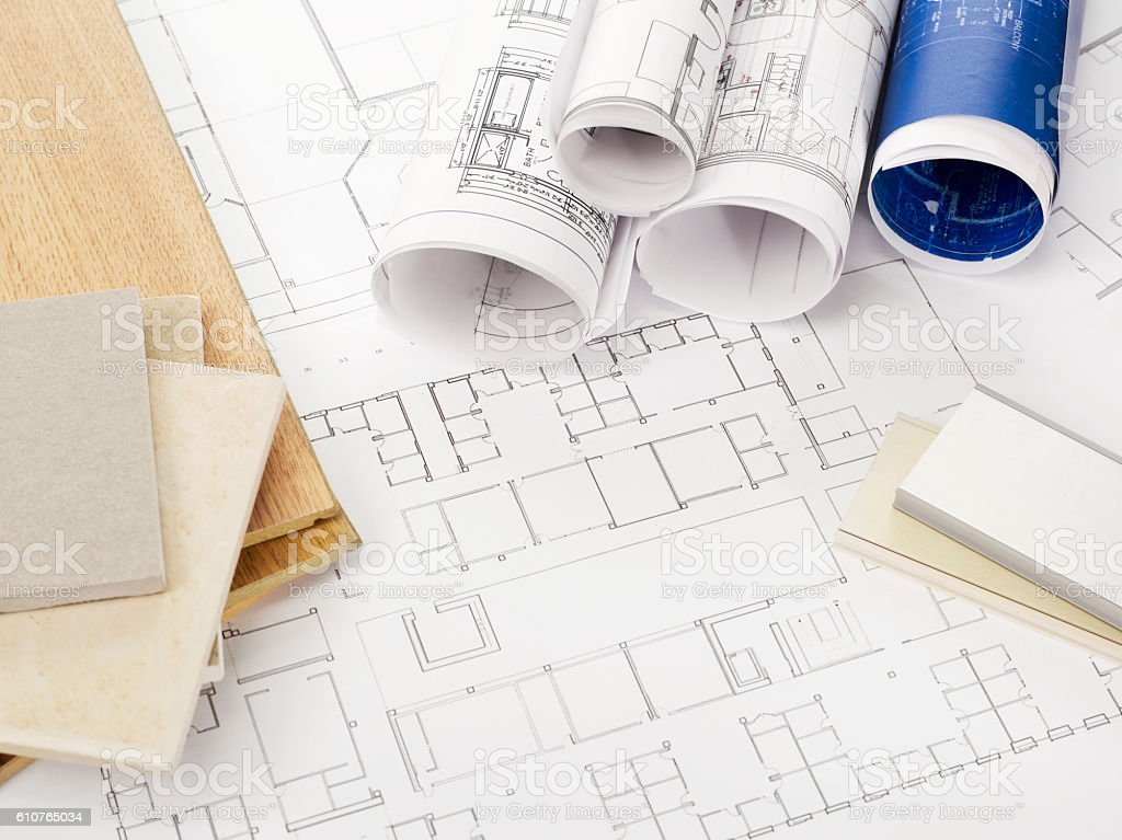 Blueprints and construction materials stock photo