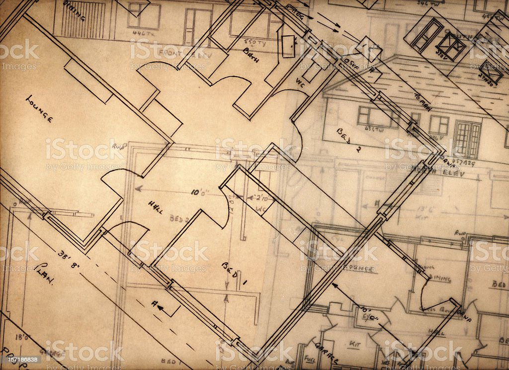 Blueprints and floor plans on transparent papers  royalty-free stock photo