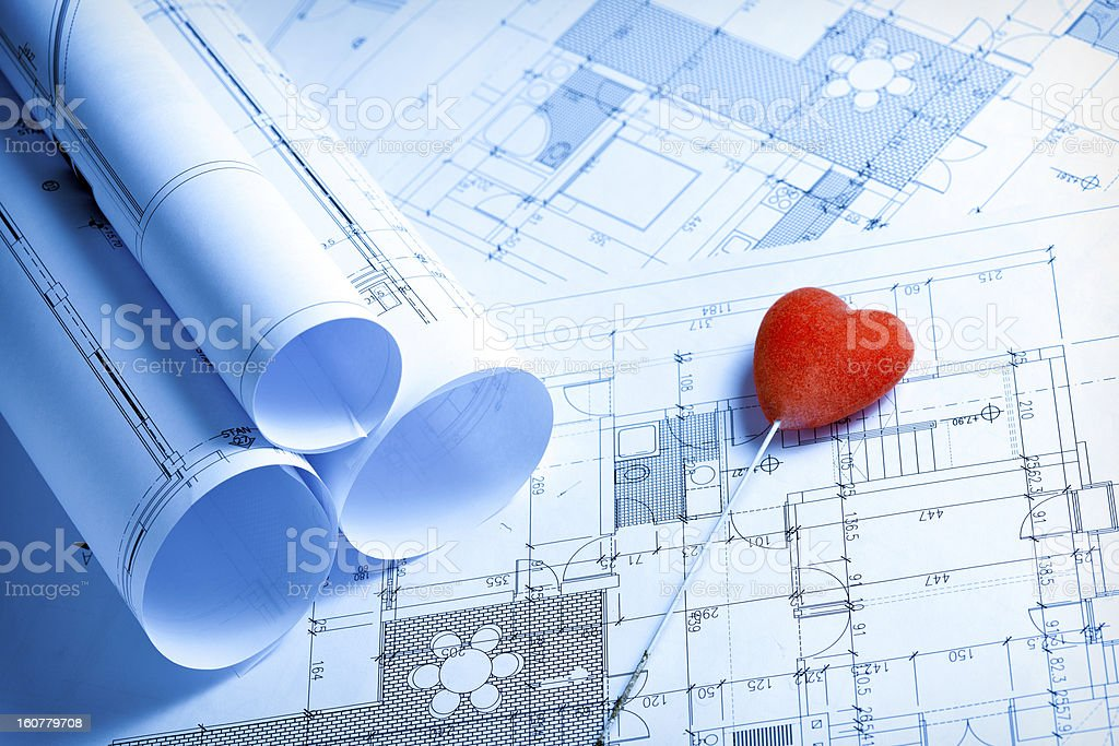 Blueprints and hear royalty-free stock photo