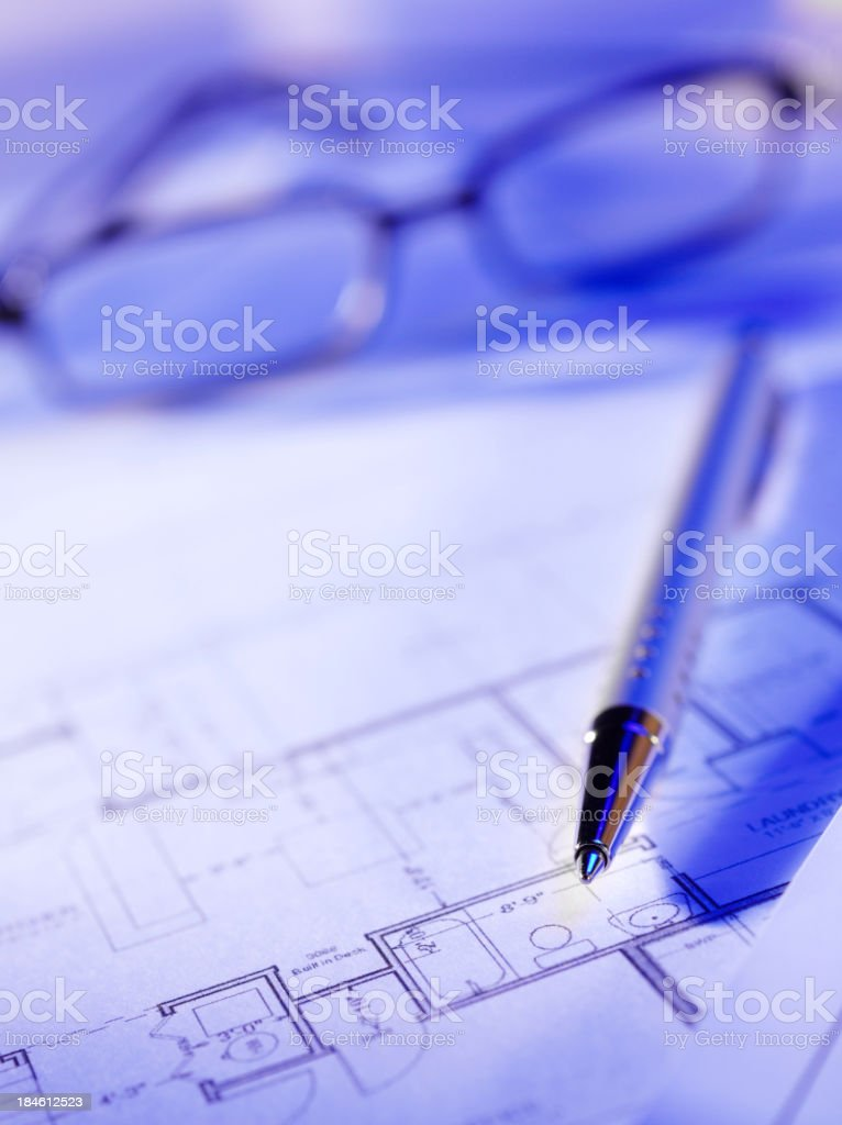 Blueprints and Pen royalty-free stock photo