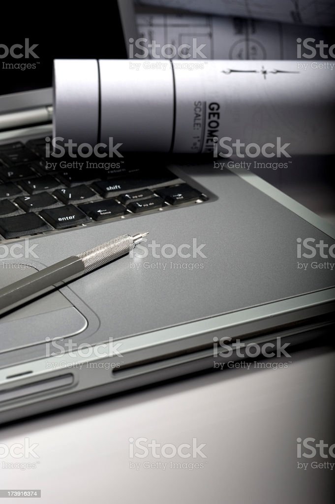 Blueprints and Pencil on Open Computer royalty-free stock photo