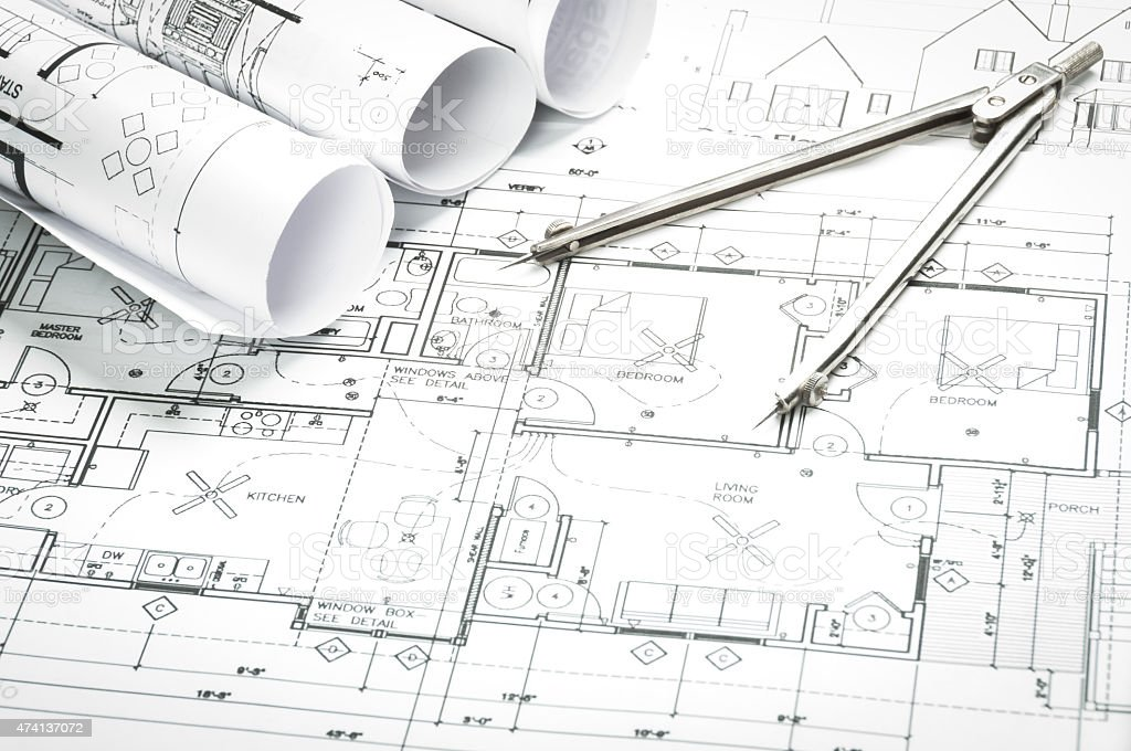 blueprints and planning stock photo