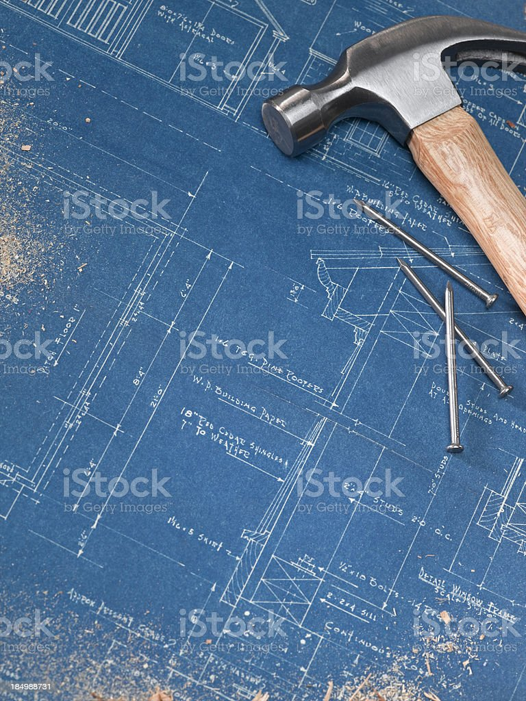 Blueprints and Sawdust royalty-free stock photo