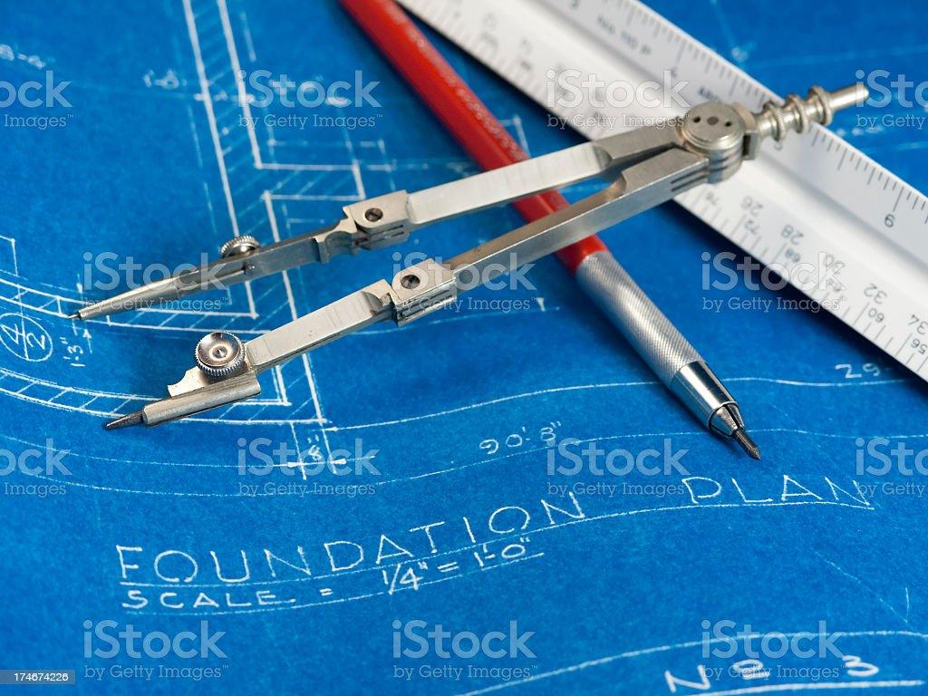 Blueprints & Architect'sTools royalty-free stock photo