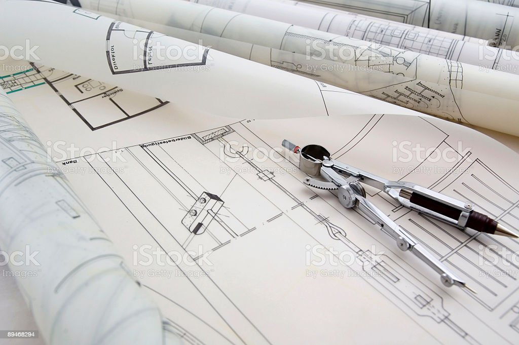 Blueprints & Drawing Compass royalty-free stock photo