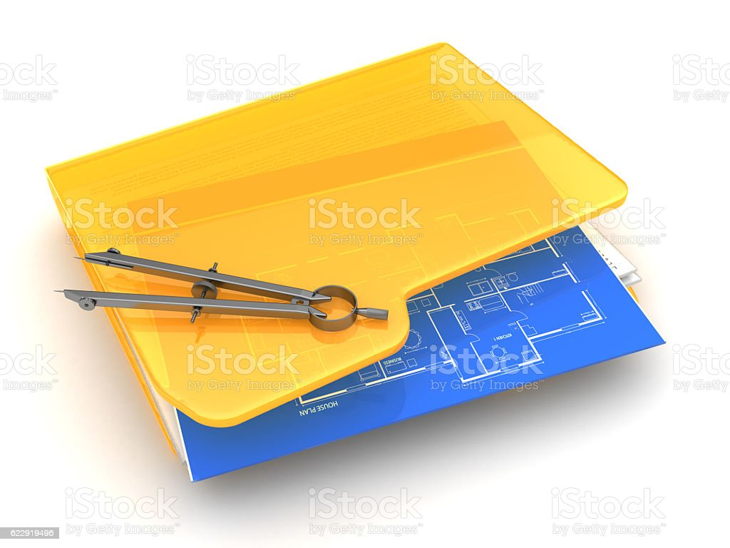 blueprints folder stock photo
