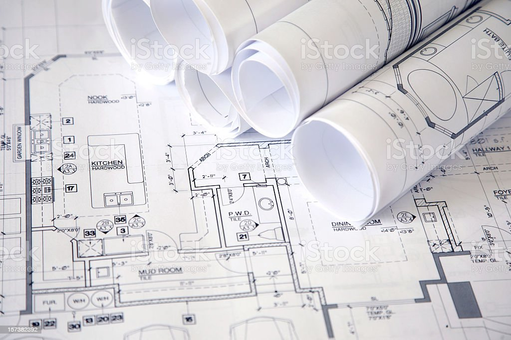 Blueprints for architectural plans royalty-free stock photo