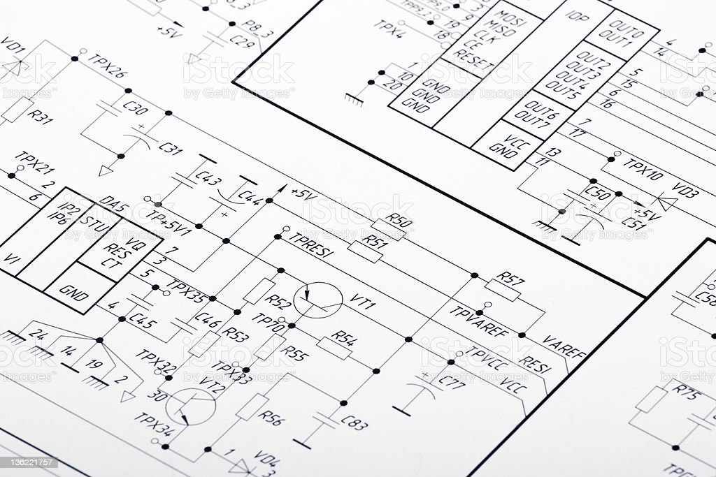 Blueprints for electrical wiring stock photo