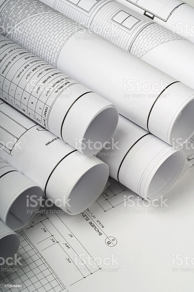 Blueprints For House Construction royalty-free stock photo
