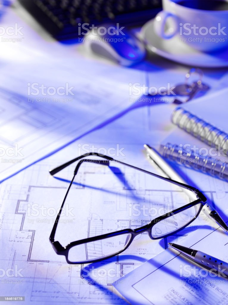 Blueprints in a Busy Office royalty-free stock photo