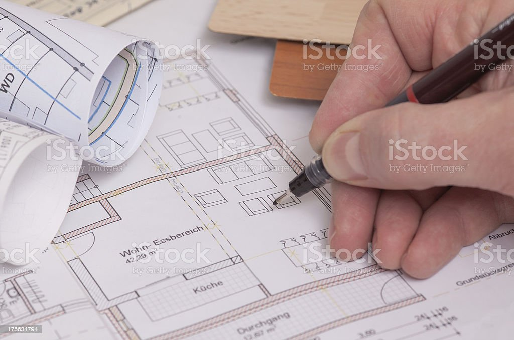 Blueprints of a house royalty-free stock photo