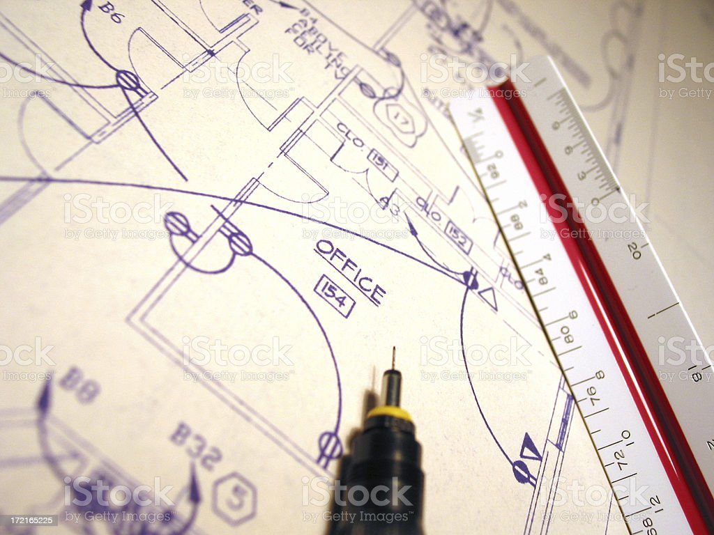 Blueprints Office Electrical 2 stock photo