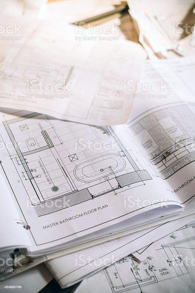Blueprints on construction Site stock photo